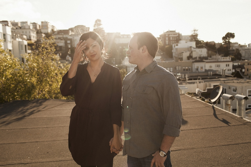 candid natural and fun engagement session on a roof top in San Francisco by Heather Elizabeth Photography