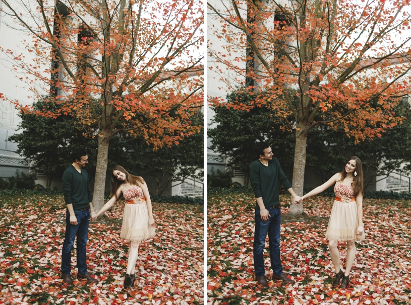 Fall leaves engagement session at UC berkley by heather elizabeth photography