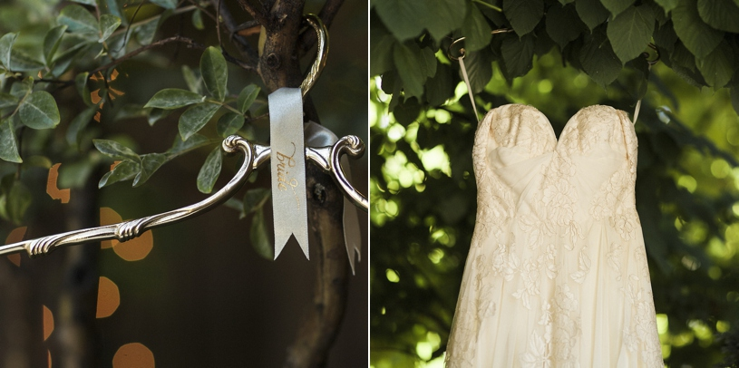 A sarah seven dress hanging up at the forest house lodge in foresthill California by Heather Elizabeth Photography
