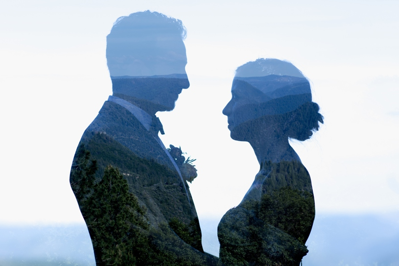 creative double exposure wedding portrait at the forest house lodge in foresthill by heather elizabeth photography