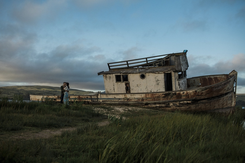 fine art engagement at the famous ship crash of point reyes by heather elizabeth photography