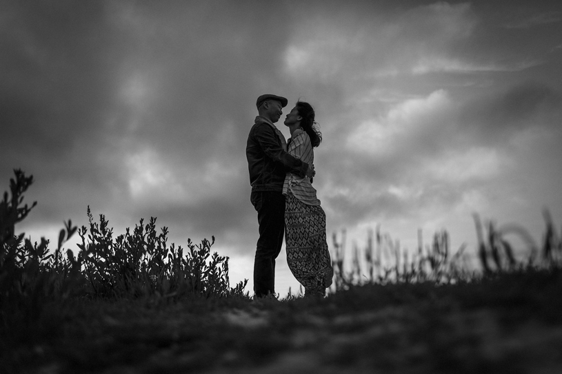 fine art cinematic engagement session in point reyes at sunset by heather elizabeth photography