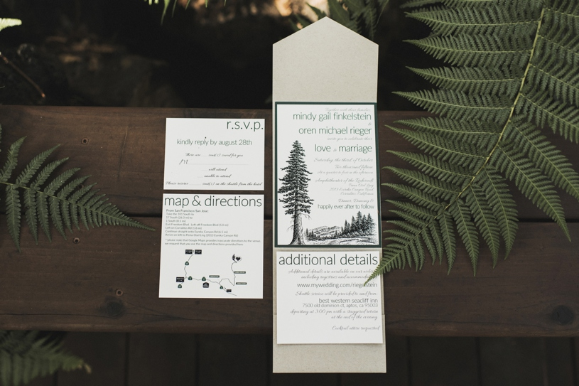Camping themed wedding invites at Pema Osel Ling by Heather Elizabeth Photography