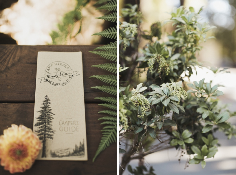 camping themed wedding programs at Pema Osel Ling by Heather Elizabeth Photography