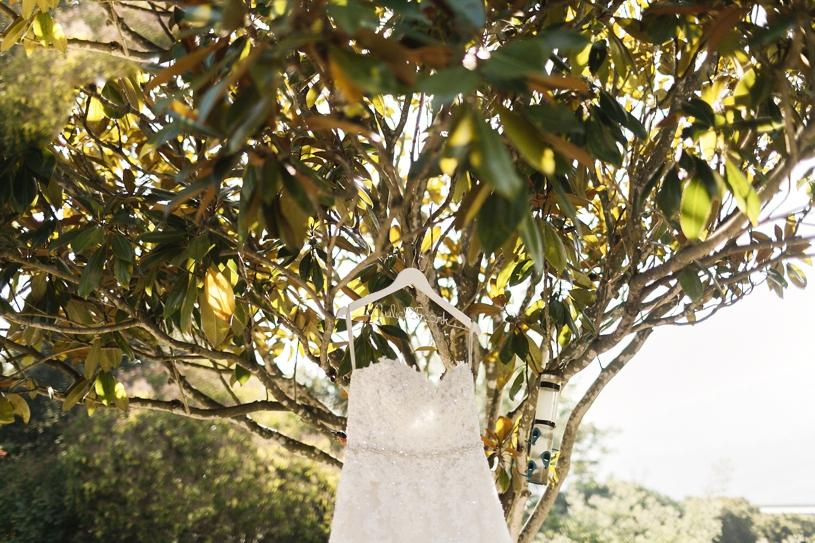 Sophia Tolli wedding dress hanging up before a wedding in San Martin, California