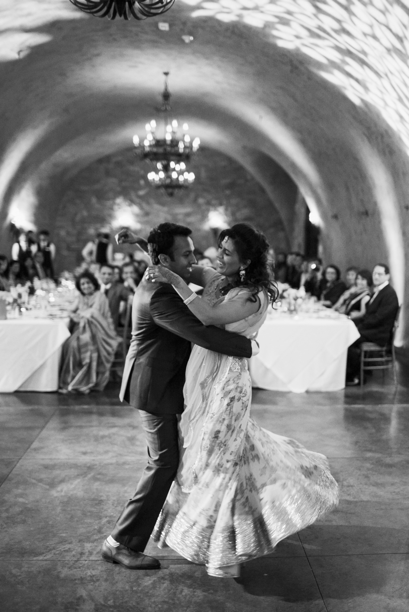 Indian wedding first dance photograph at a wedding at Meritage Resort in Napa by Heather Elizabeth Photography