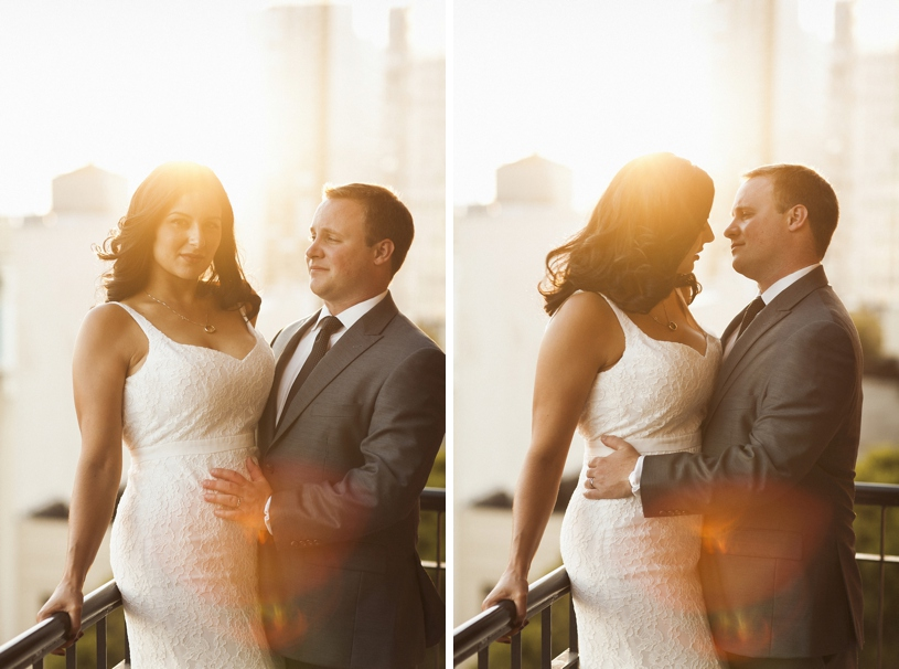 Sunset portraits at a wedding at the University Club by Heather Elizabeth Photography