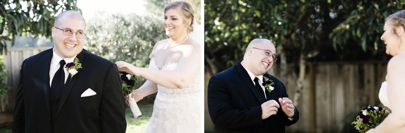 Bride tapping her groom on the shoulder during their first look moment in Burlingame California by Heather Elizabeth Photography