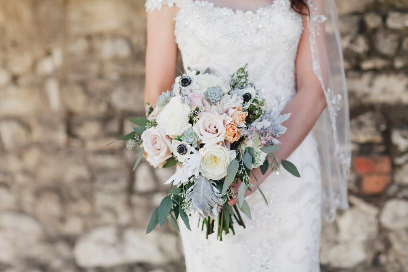 beach palette wedding bouquet for a carmel wedding by top photographer Heather Elizabeth