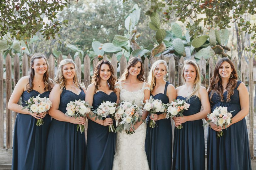 navy blue bridesmaids gowns in carmel by heather elizabeth photography