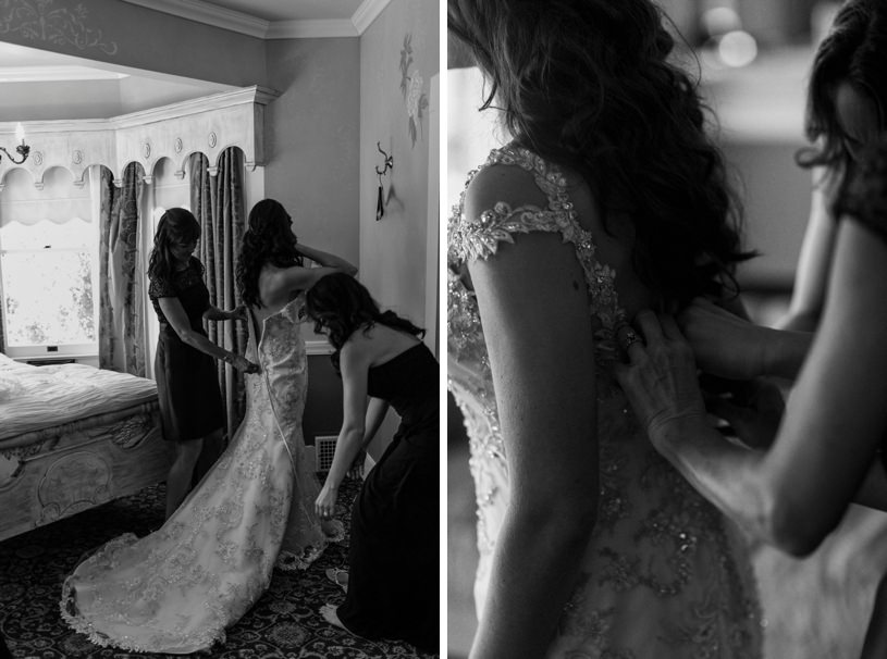 Getting ready room at the Perry House in Carmel for a wedding by top wedding photographer Heather Elizabeth
