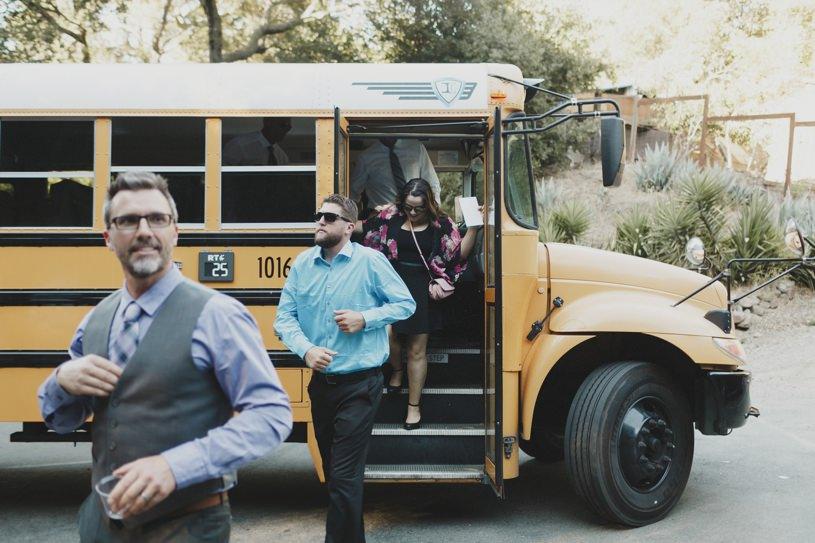 school bus wedding guest delivery at lafayette outdoor wedding wildwood acres resort