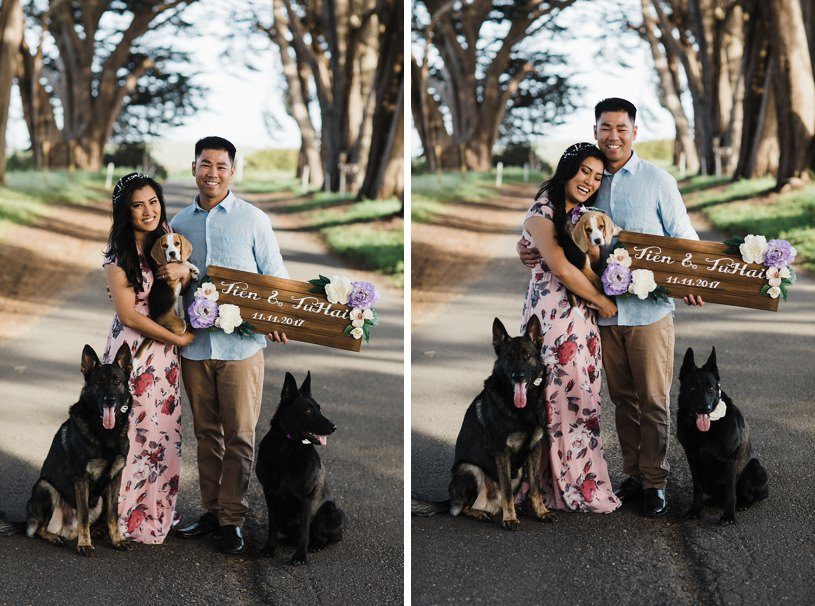Adorable dog engagement session in Point Reyes tree tunnel
