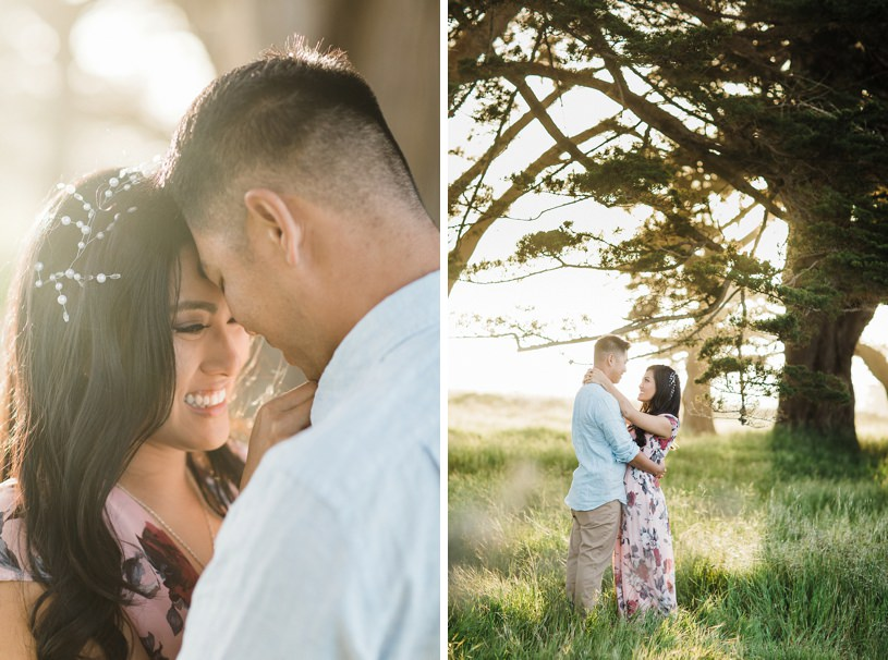 romantic whimsical sunset engagement in point reyes by top wedding photographer heather elizabeth
