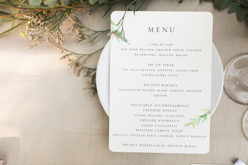 RUSTIC MODERN WEDDING MENU