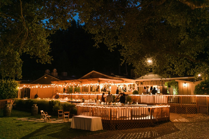 Night time wedding reception at the Mountain Terrace in Woodside California