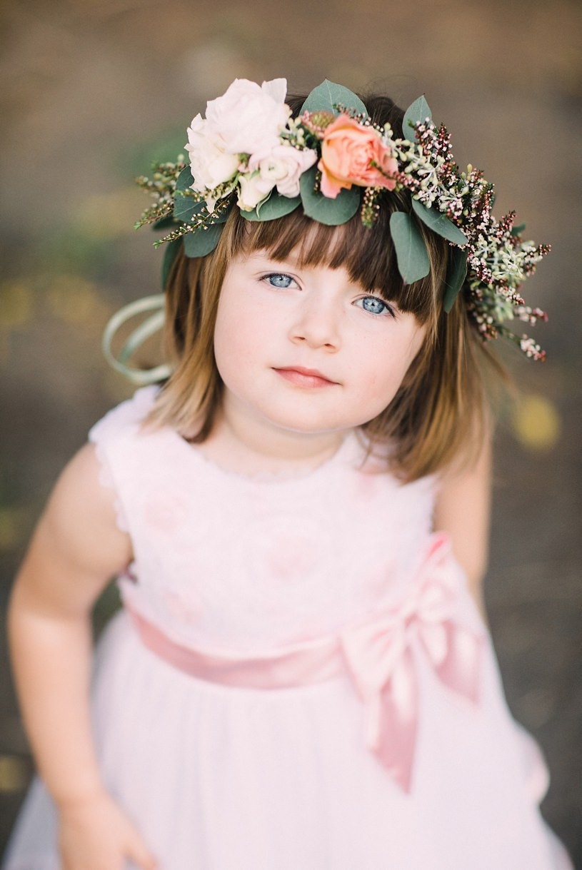 sweet little flower girl with flower crown at diablo ranch events