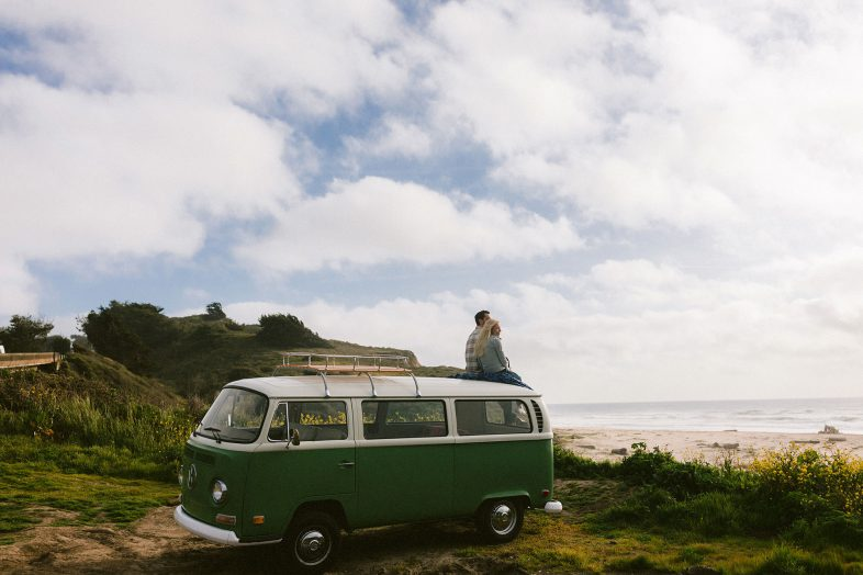 VW bus engagement session on the northern california coast by heather elizabeth photography